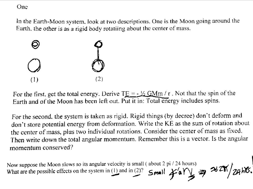 Solved: In The Earth-Moon System, Look At Two Descriptions ...