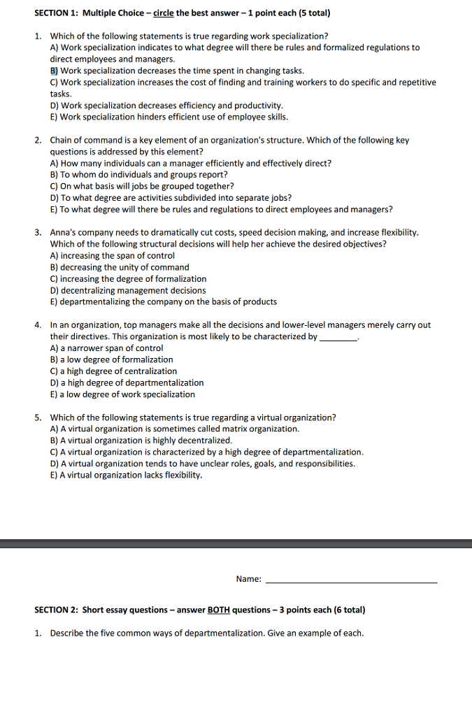 team organization questions