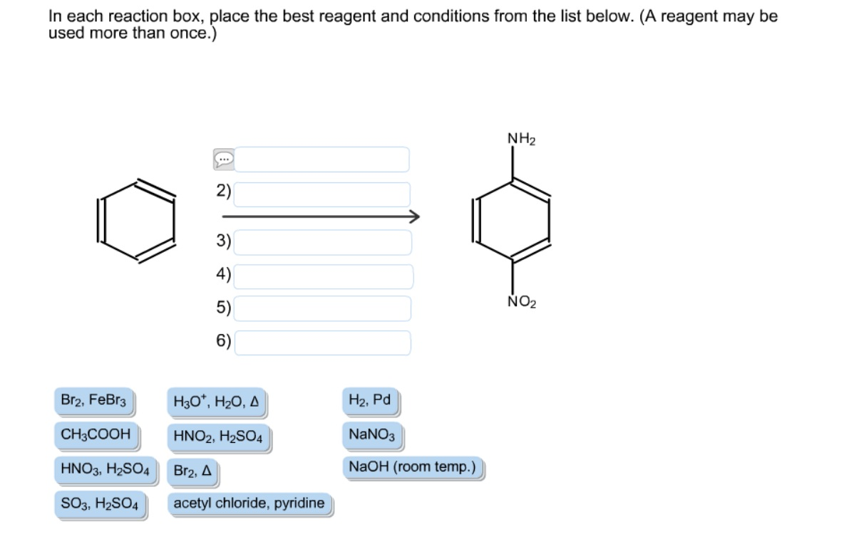 in each reaction box place the best reagent and conditions from the list below oh - photo #42