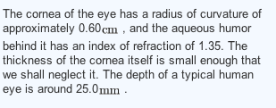 The cornea of the eye has a radius of curvature of