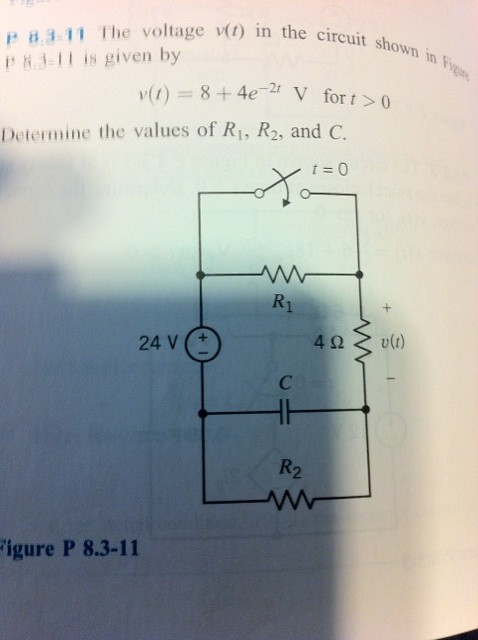 The voltage v(t) in the circuit shown in Figure P