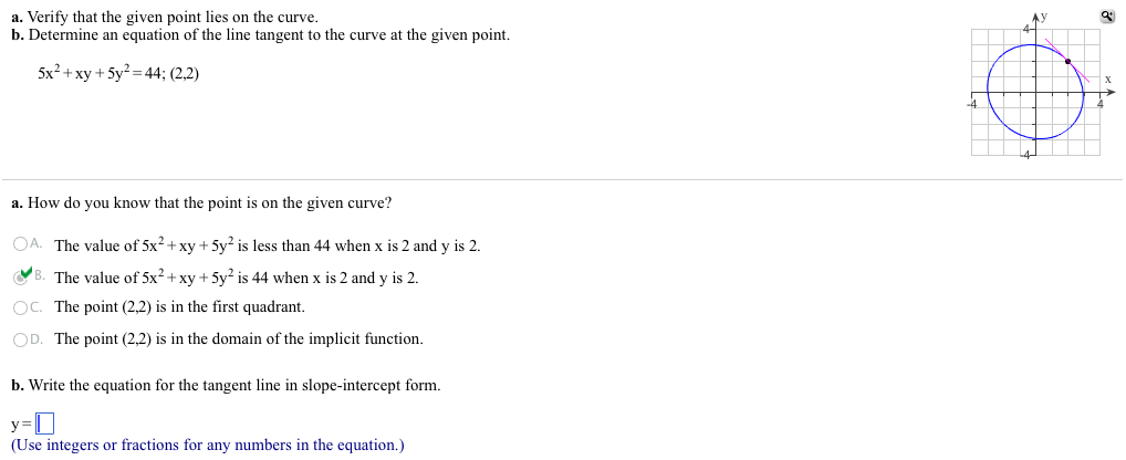 Solved Verify That The Given Point Lies On The Curve Det