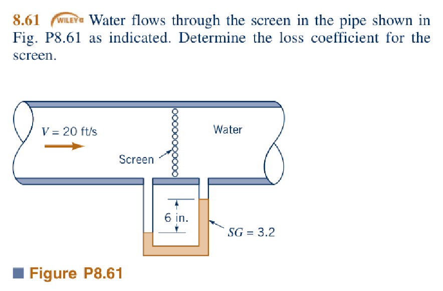 Expert Answer  sc 1 st  Chegg & Solved: Water Flows Through The Screen In The Pipe Shown I ...