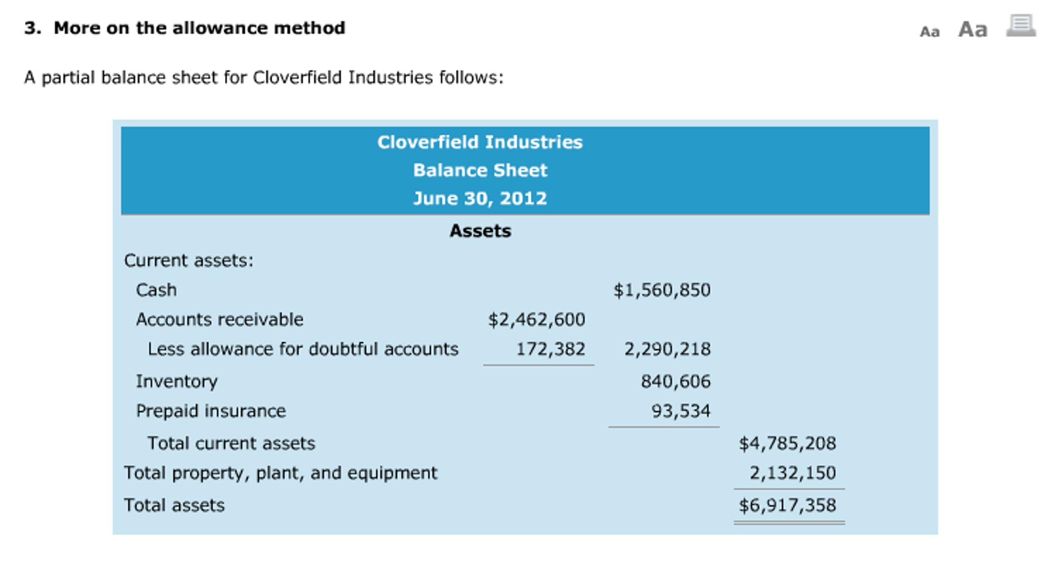 Prepare a partial balance sheet, Financial Accounting