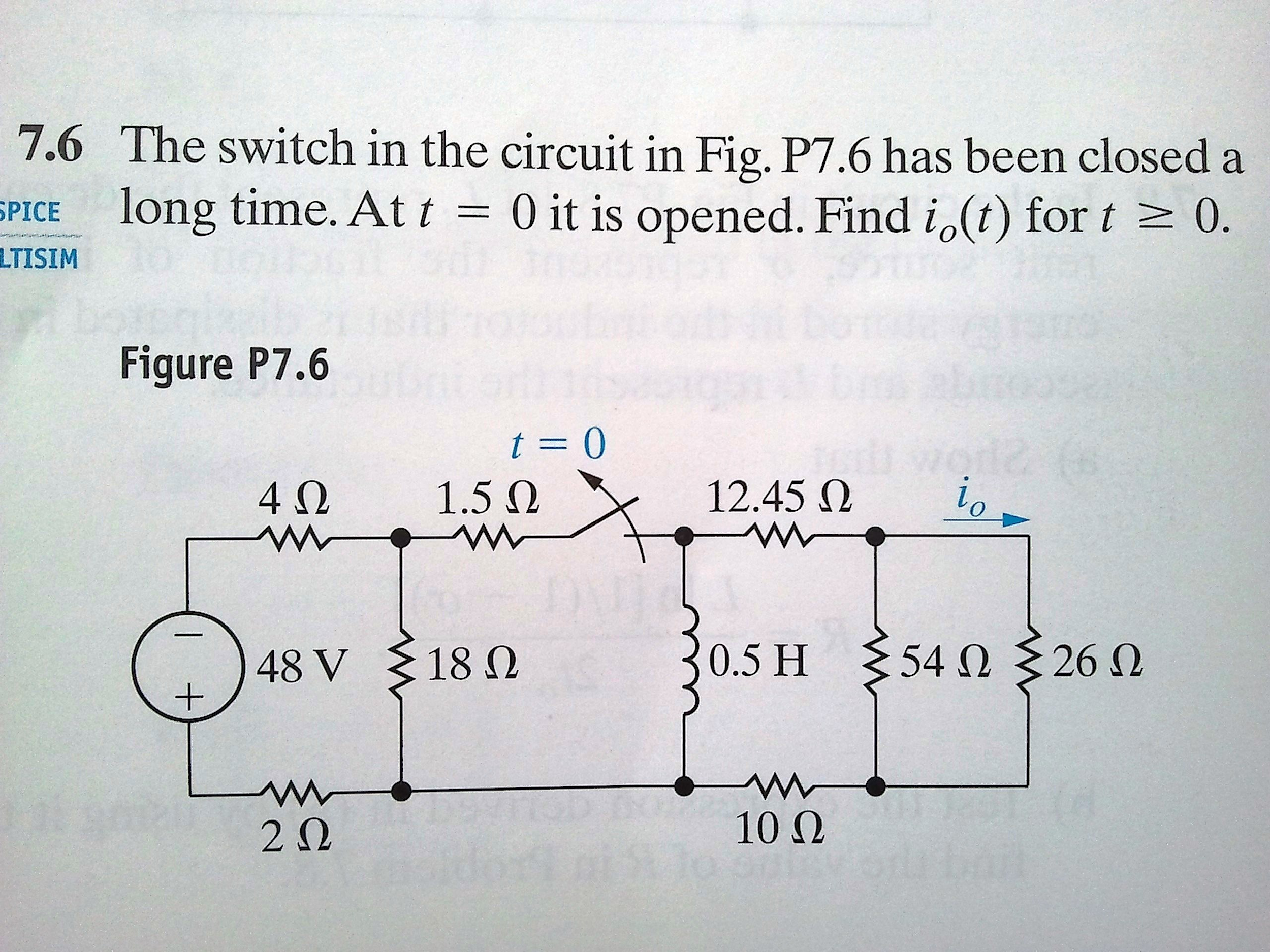 Solved: The Switch In The Circuit In Fig. P7.6 Has Been Cl ...