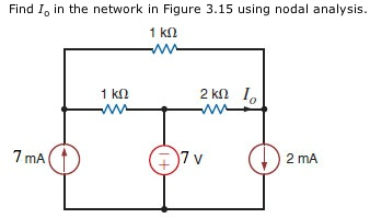 Find Io in the network in Figure 3.15 using nodal
