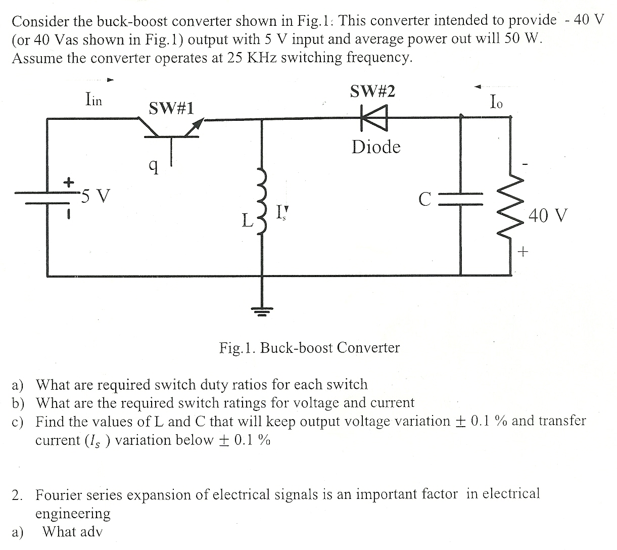 Solved Consider The Buck Boost Converter Shown In Fig 1