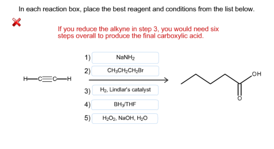 in each reaction box place the best reagent and conditions from the list below oh-#31