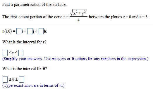 Write a parameterization of the cone