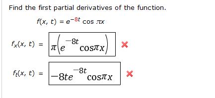 derivative of cos pi x