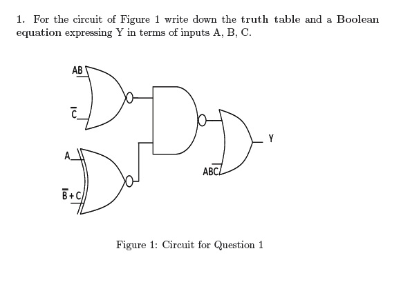 For the circuit of Figure 1 write down the truth t