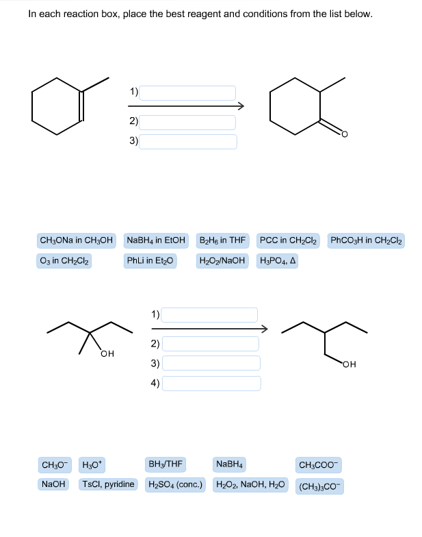 in each reaction box place the best reagent and conditions from the list below oh - photo #13