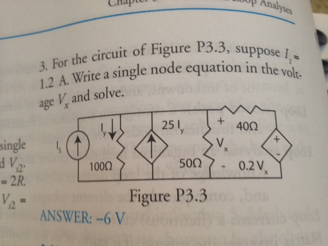 For the circuit of Figure P3.3, suppose Is 1.2A.