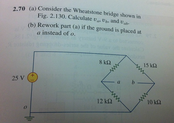 Consider the Wheatstone bridge shown in Fig. 2.130