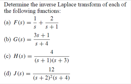 Solved: Determine The Inverse Laplace Transform Of Each Of ...
