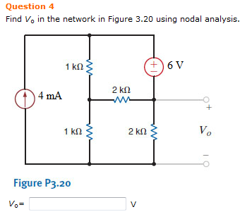 Find Vo in the network in Figure 3.20 using nodal