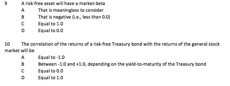 beta of a risk free asset