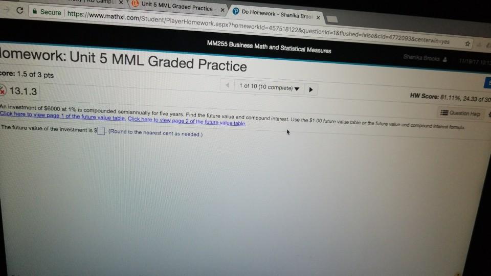homework unit 1 mml graded practice
