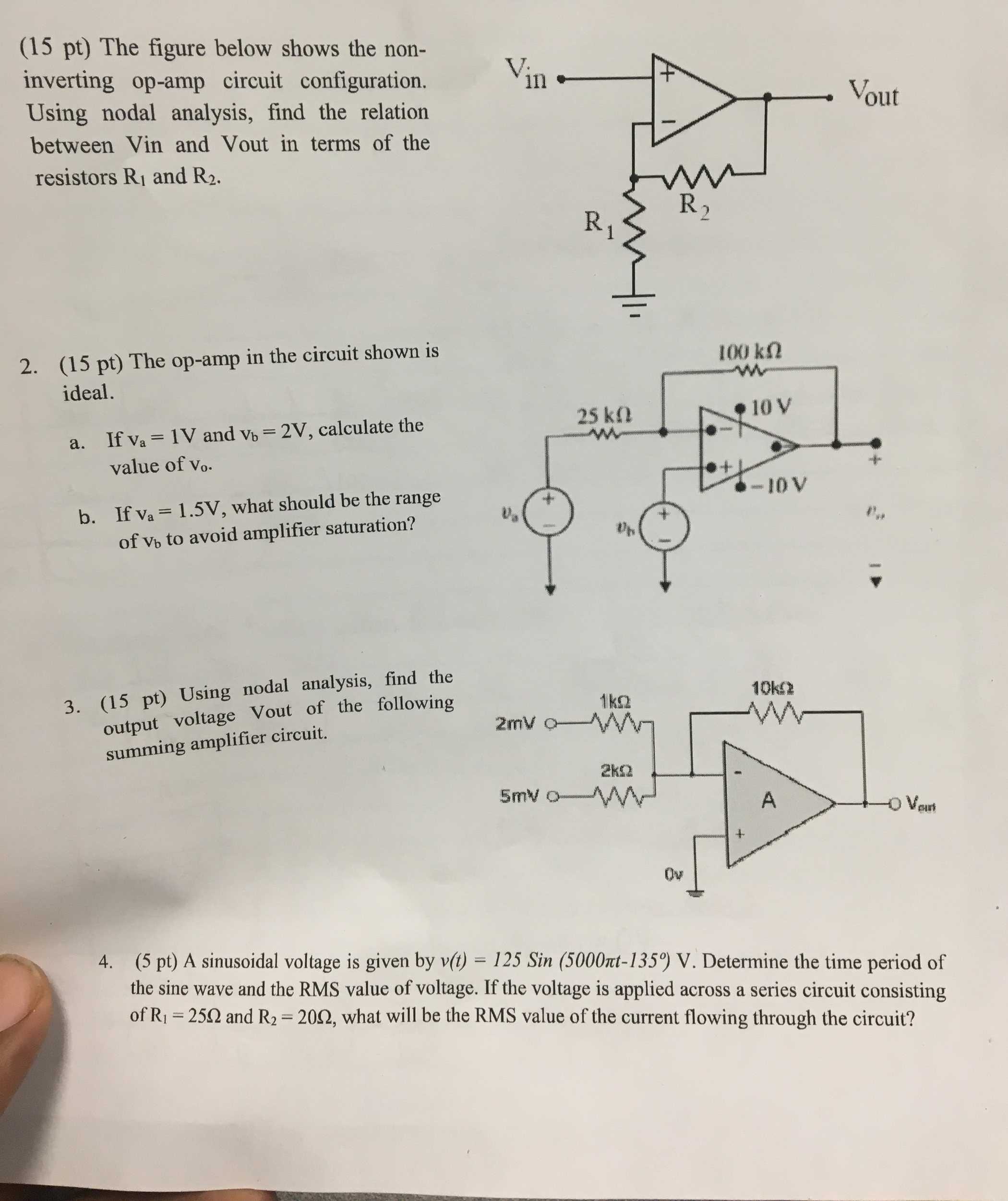 Snap Solved The Op Amp In Following Inverting Amplifier Ha Circuit Figure Below Shows Non C
