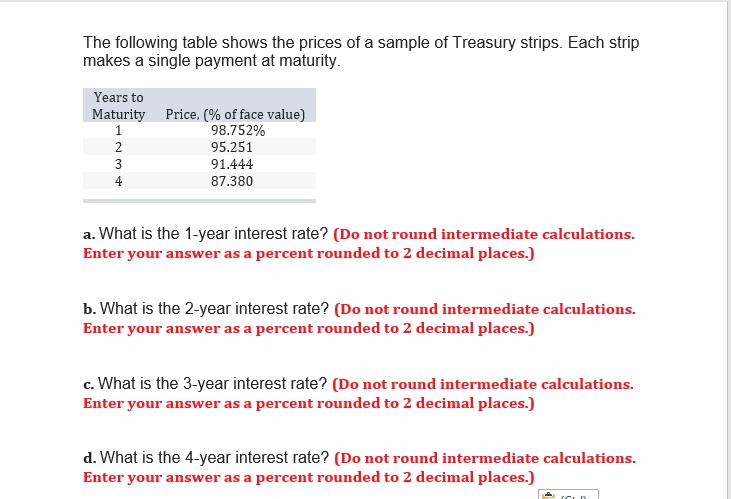 prices Treasury strip