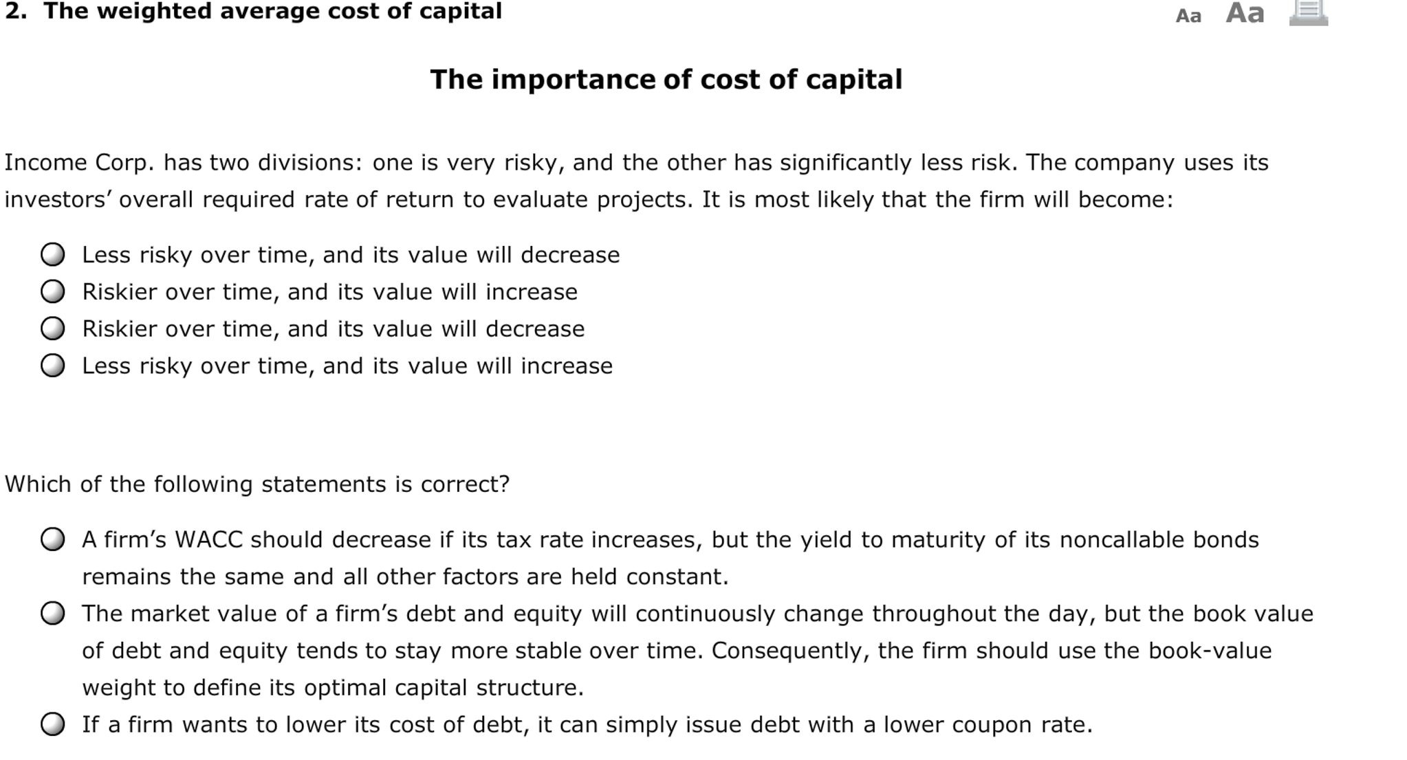 Weighted Average Cost of Capital and Single Hurdle Rate