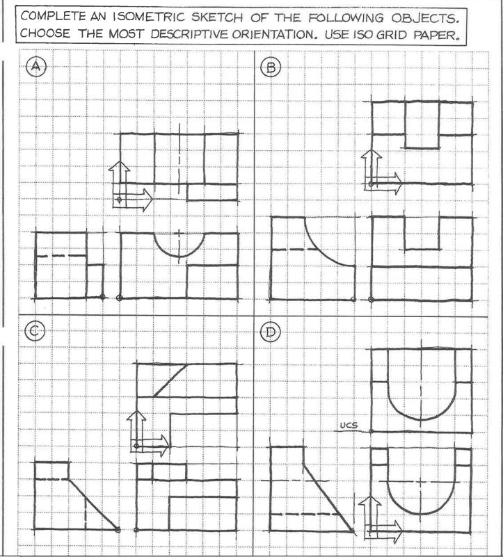 complete an isometric sketch of the following obje chegg com