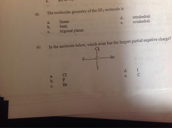 The Molecular Geometry Of The SF2 Molecule Is Line ...