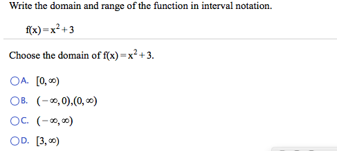 solved write the domain and range of the function in inte