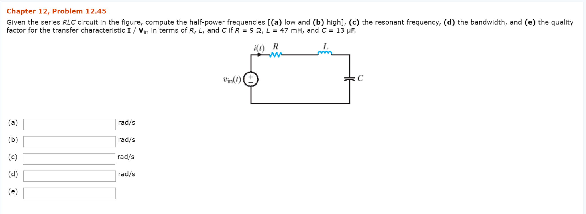 solved  given the series rlc circuit in the figure  comput