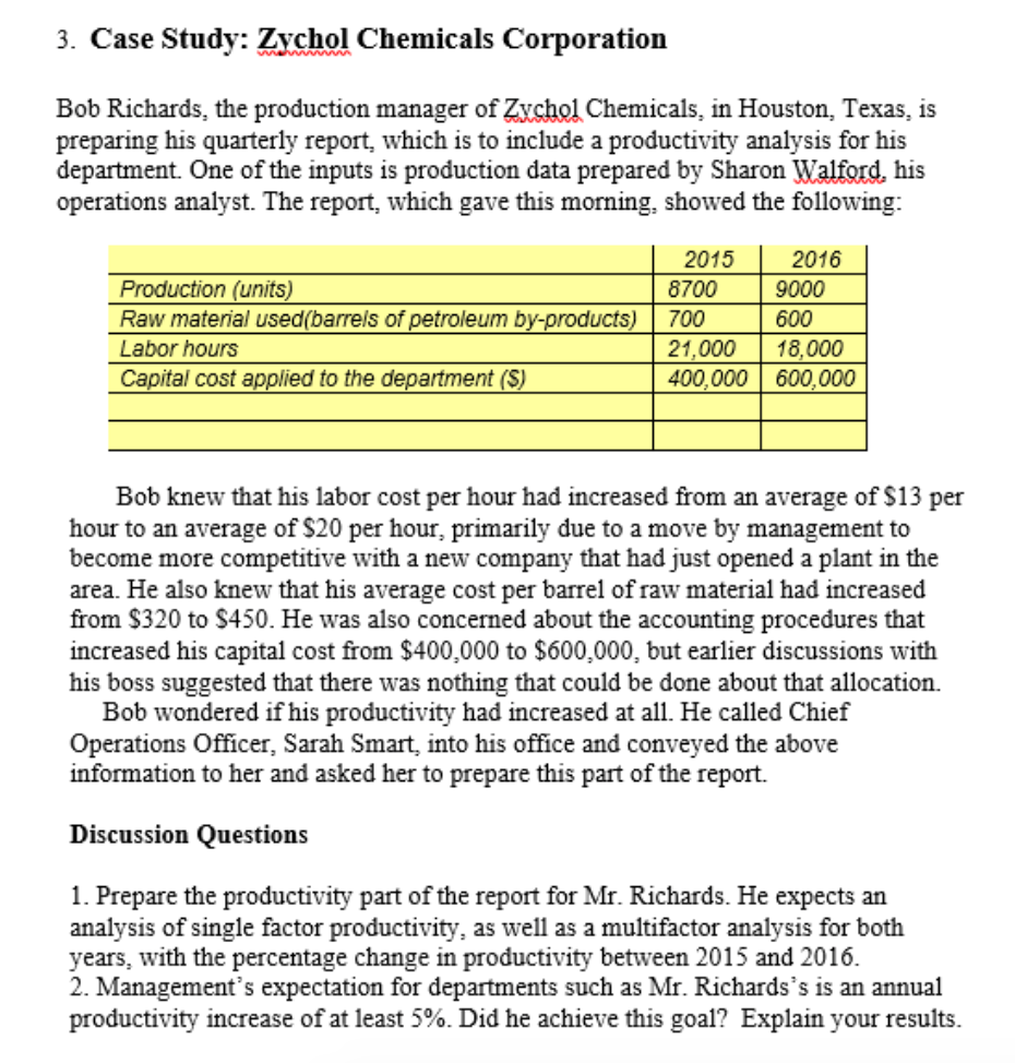 case study zychol chemicals corporation