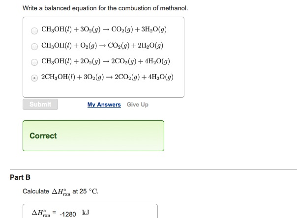 Solved Write A Balanced Equation For The Combustion Of Me