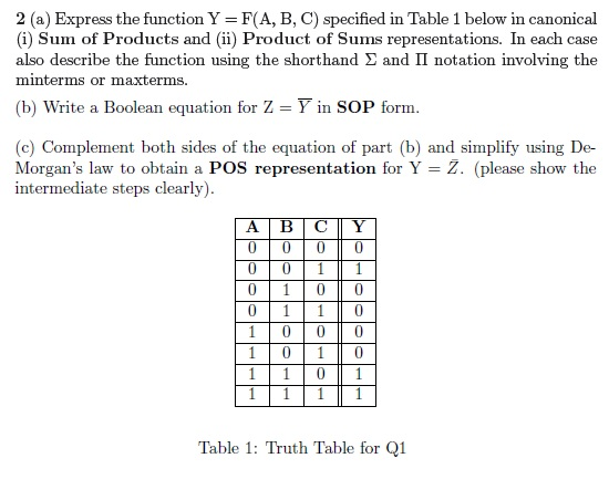 Express the function Y = F(A, B, C) specified in T