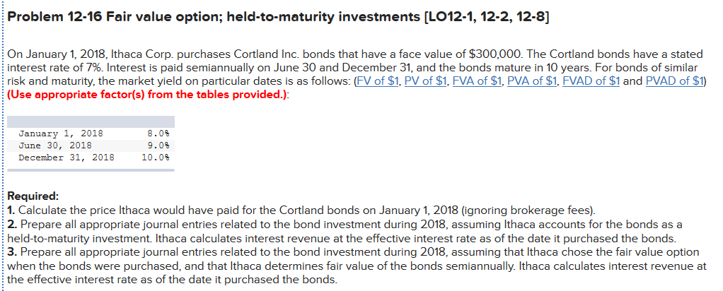 Held to maturity investments