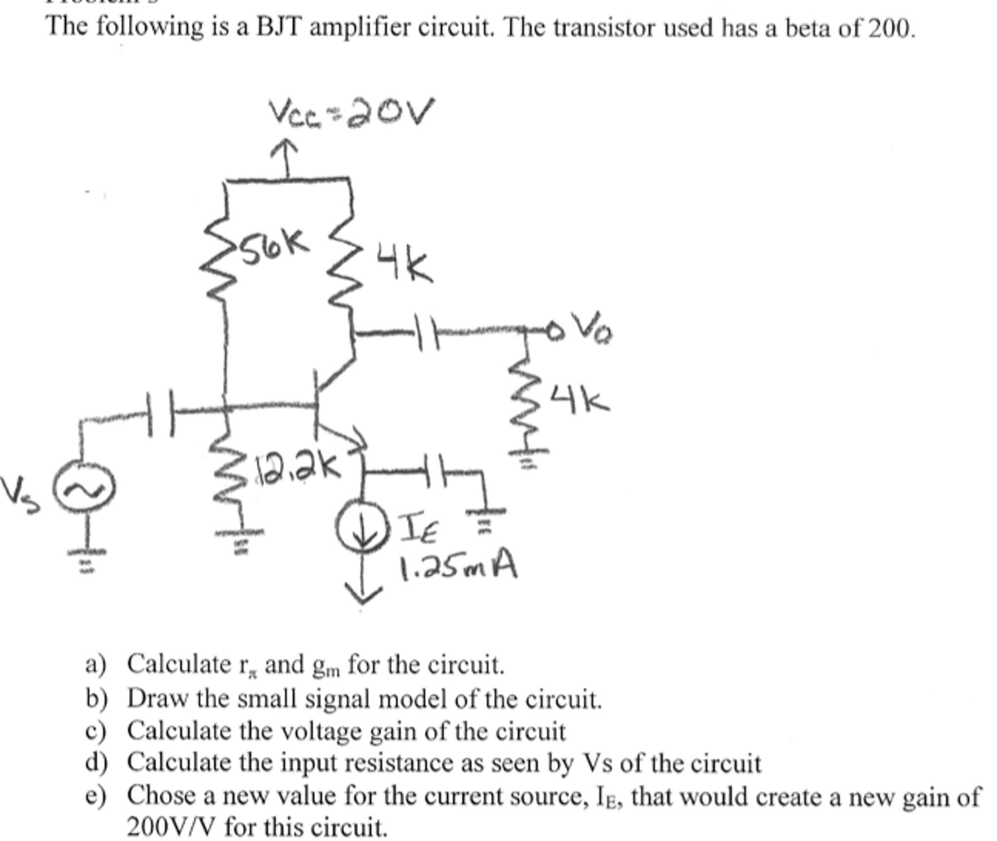 Snap T20 Wiring Diagram Friendship Bracelet Diagrams Current Amplifier Amplifiercircuit Circuit Seekiccom Solved The Following Is A Bjt Tran
