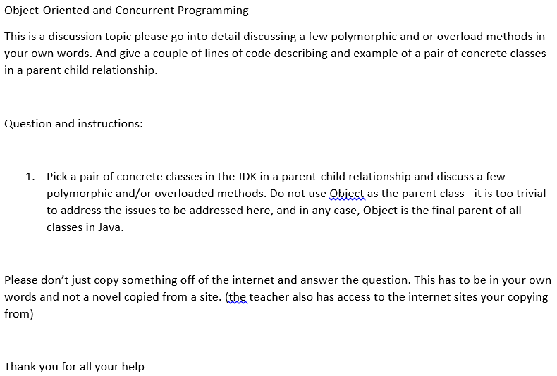 concrete classes in the jdk a parent child relationship
