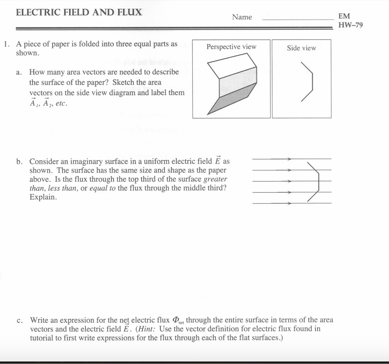 Write an expression for the net electric flux