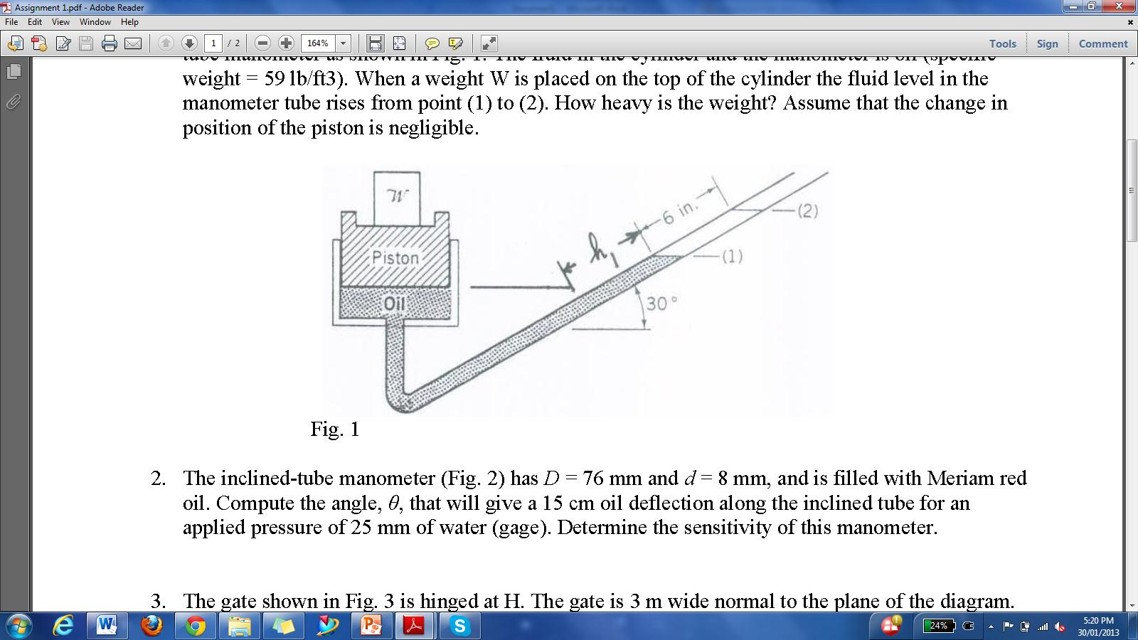 manometers diagrams problems solved: a 6-in diameter piston is located within a cylinde ...