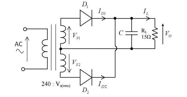 solved  the full wave bridge rectifier circuit below is us