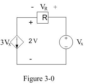 In Figure 3-0, if Vx=8V, what is the value of VR?
