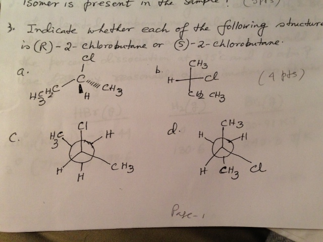 R 2 Chlorobutane Solved: Indicate Wheth...