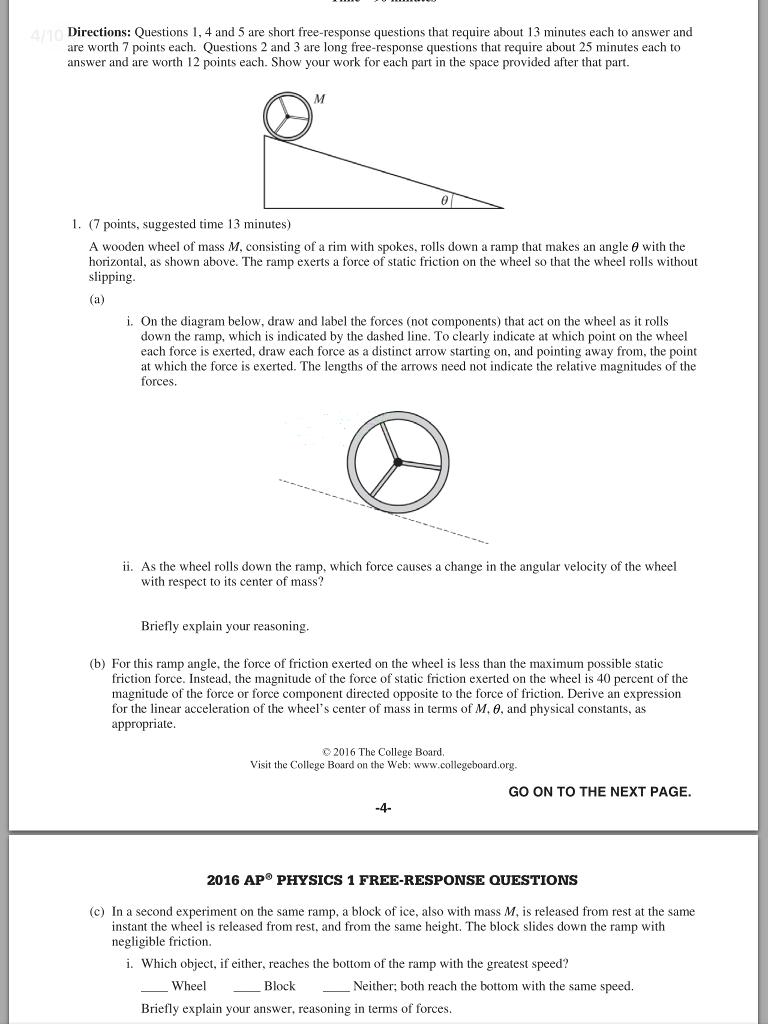 ap physics 1 2016 free response scoring guidelines