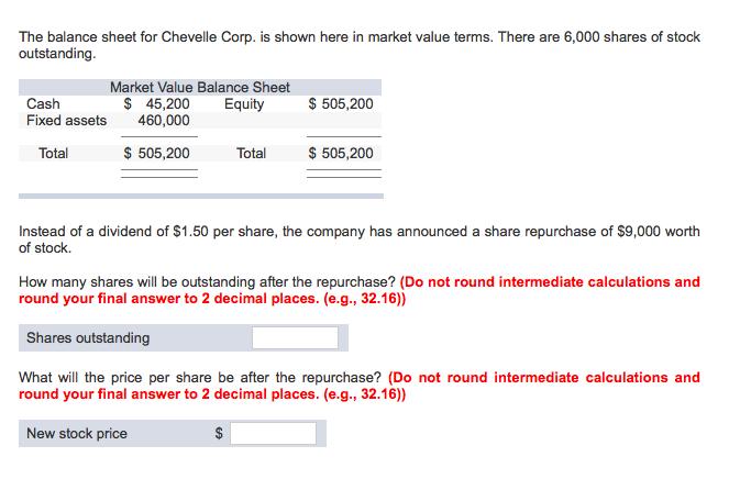 Calculation of Maket Value Balance sheet