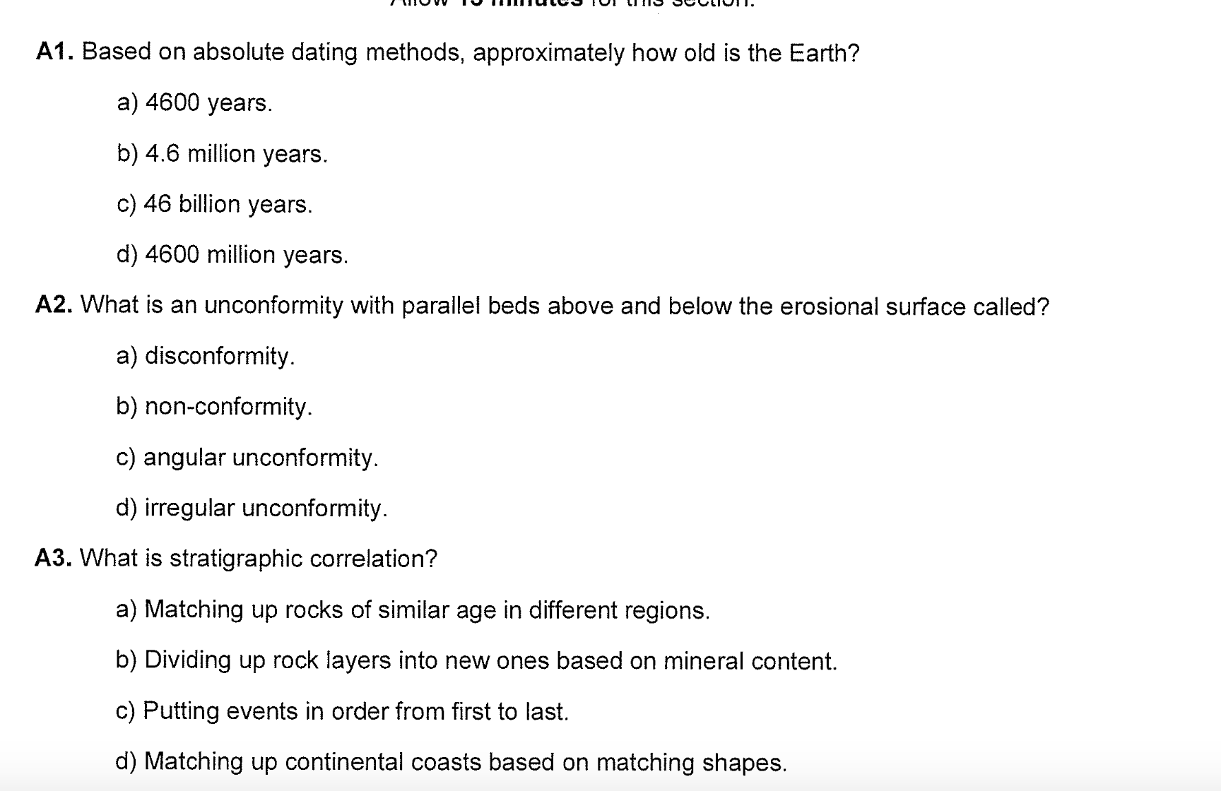 Age of the earth dating methods
