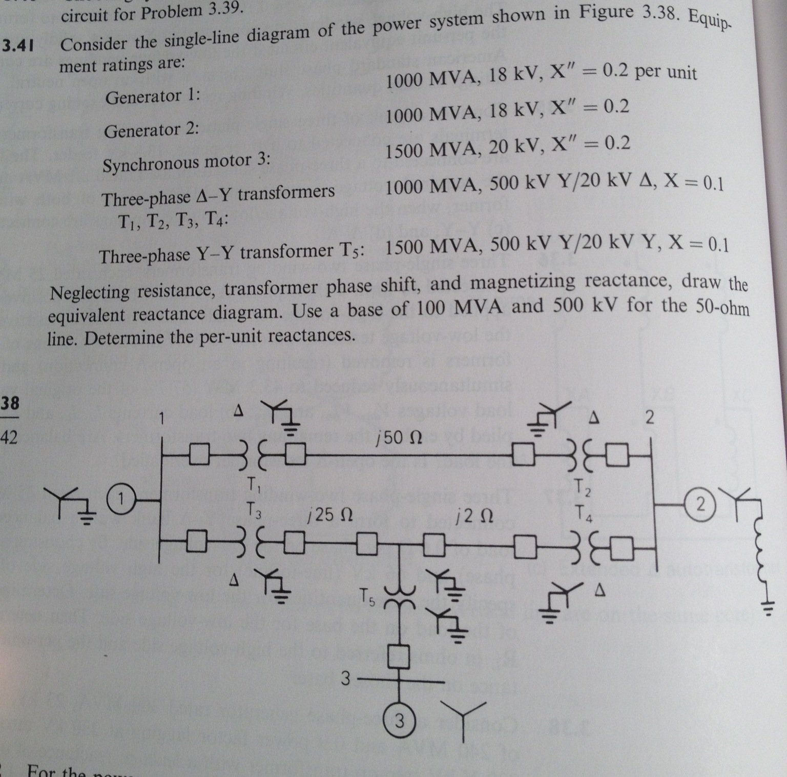 Solved Consider The Single Line Diagram Of The Power Syst