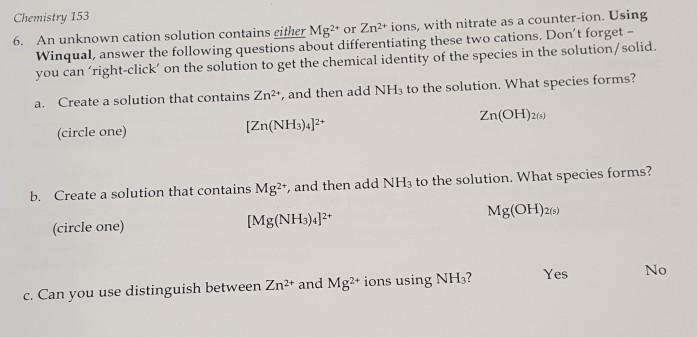 winqual chemistry