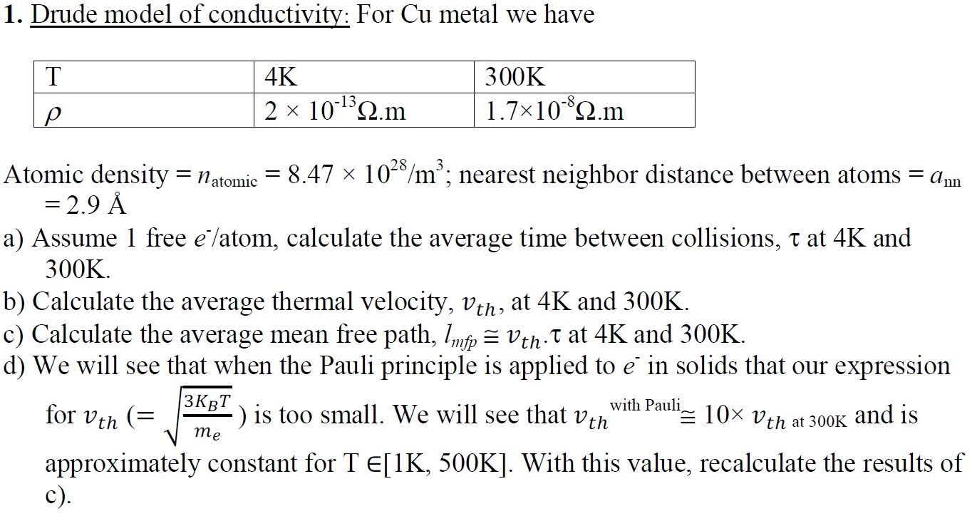 Drude model of conductivity: For Cu metal we have