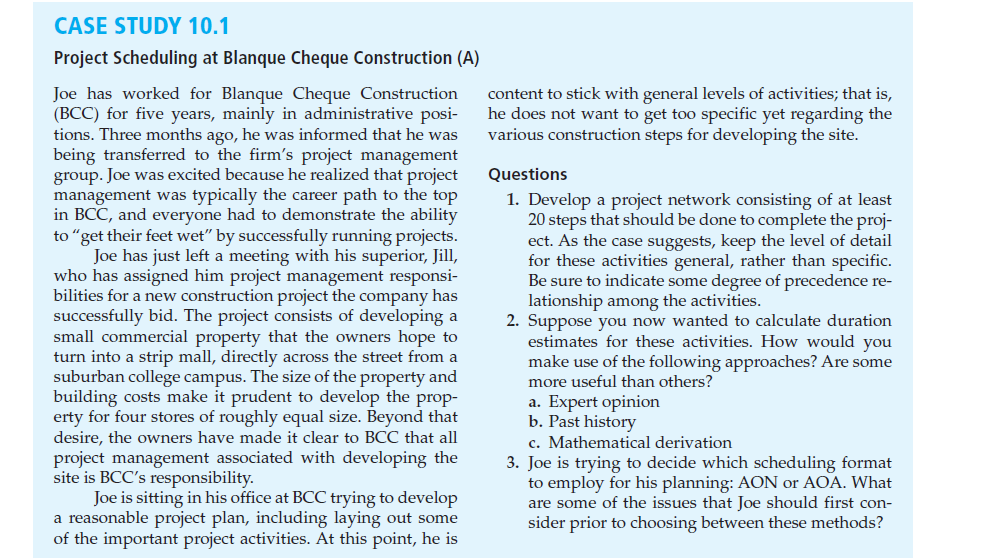 case study project scheduling at blanque cheque construction