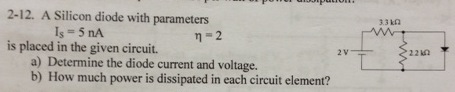A Silicon diode with parameters Is = 5 nA eta = 2