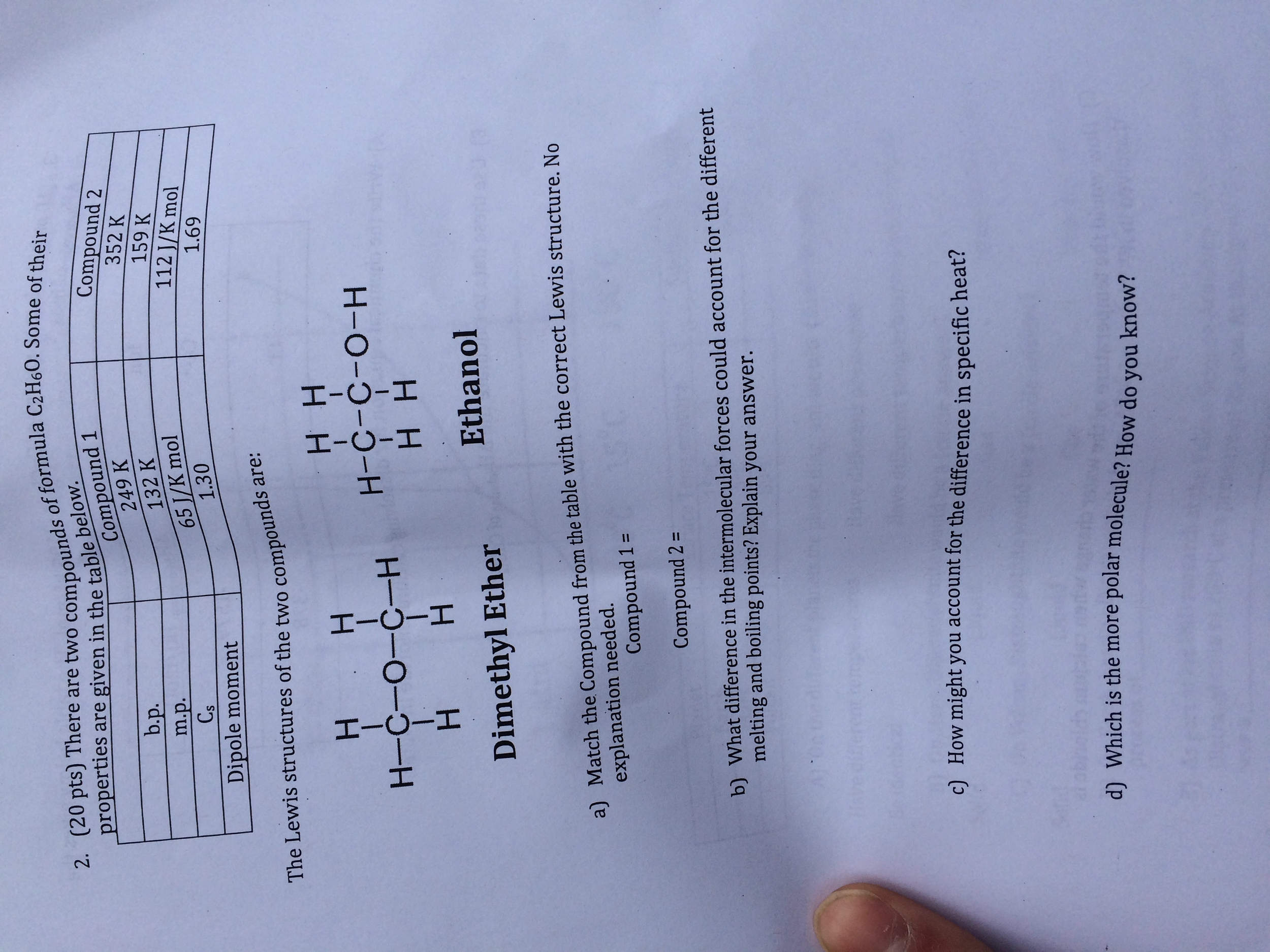 Solved: (20 Pts) There Are Two Compounds, Of Formula C2H6O ...