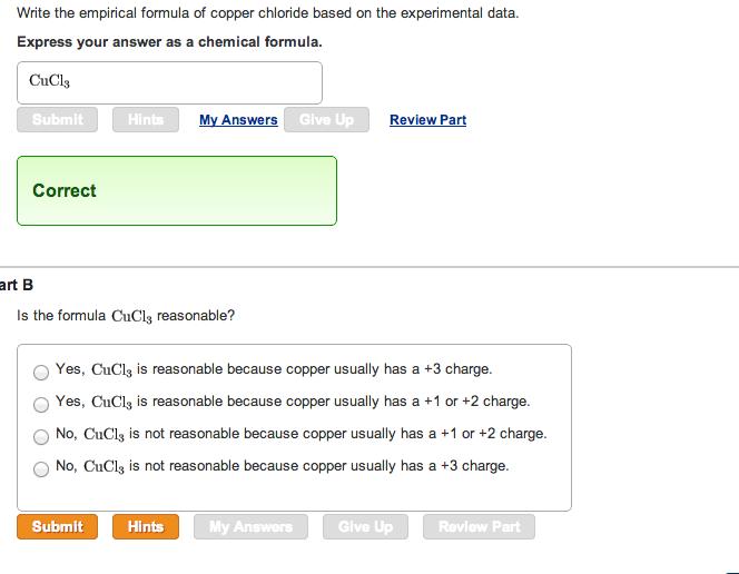 Solved Write The Empirical Formula Of Copper Chloride Bas